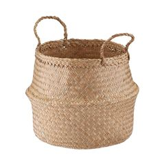 Small Natural Seagrass Belly Basket - possibly for under nightstand drawer (I'm not sure of the right size) Ikea Basket, Plant Basket, Wicker Baskets, Plant Pots, Wire Basket Storage, Fabric Storage Bins, Toy Storage, Storage Boxes, Belly Basket