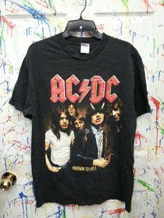 Vintage ACDC Concert Tshirt Band Tshirt Black Size Large by RagsAGoGo, $25.00