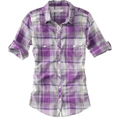3/4-Sleeve Large Plaid Shirt - Aéropostale® ($35) ❤ liked on Polyvore featuring tops, shirts, blusas, purple plaid shirt, 3/4 sleeve shirts, aeropostale tops, three quarter length sleeve tops and purple top