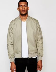 ASOS+Bomber+Jacket+With+Sleeve+Zip+In+Stone