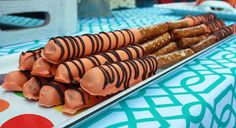 Daniel Tiger Striped Candy Pretzel Rods--Party goers will love these crunchy pretzel rods. They're easy to make, too.