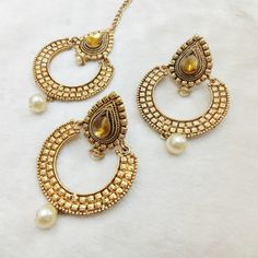 Elegant Eclipse kundan mantika earring set @ Rs.229 Only #mangtika #earrings #kundanwork #eclipsestyle #pearl #jewelry #jewelmaze