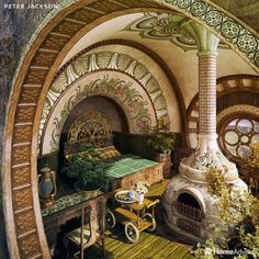 These 7 Fantasy Bedrooms Are Inspired by Wes Anderson, Peter Jackson and More St. - These 7 Fantasy Bedrooms Are Inspired by Wes Anderson, Peter Jackson and More Star Directors - - ? Maison Earthship, Earthship Home, Earthship Design, Fantasy Bedroom, Fantasy House, Fairytale Bedroom, Fantasy Rooms, Casa Dos Hobbits, Jackson