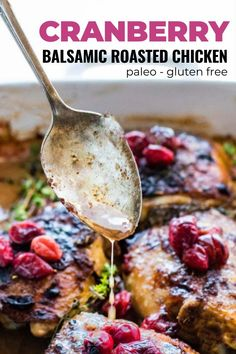 Holidays are coming up but we've got you covered! This one pan delicious roasted chicken meal deserves to be part of your holiday celebrations. The tangy balsamic marinade keeps the chicken juicy, while cranberries and fresh thyme add flavor! It's a great meal prep recipe or make ahead meal. #chickenrecipe #onepanmeals #mealprep #glutenfree #paleo Balsamic Chicken Marinades, Balsamic Marinade, Balsamic Vinegar Chicken, Slow Cooked Chicken, Oven Chicken Recipes, Roasted Chicken, Paleo Recipes Easy, Whole Food Recipes, Cranberry Chicken