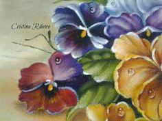 Como pintar amores perfeitos e cesto - pintura em tecido