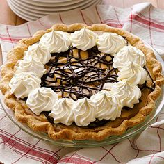 Silky smooth thanks to a butterscotch-infused custard filling, this classic banana cream pie recipe has all the banana flavors you love plus a chocolaty topping. If you're short on time, use a refrigerated unbaked piecrust./