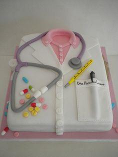 Torta Doctora | Pastelera Bakery Shop | Flickr Cake Decorating Frosting, Cake Decorating Designs, Cake Designs, Birthday Cakes For Men, Man Birthday, Medical Cake, Medical Party, Doctor Cake, Shirt Cake