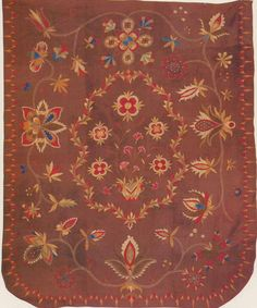 Medallion Crewel-embroidered Coverlet, 1815-1830. New England. Winterthur Museum.