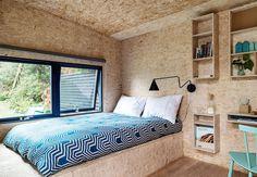 OSB boards in interior, bedroom