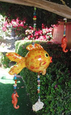 Ceramic Bright Yellow Tropical fish mobile hanging by CDJ4Ceramics, $50.00