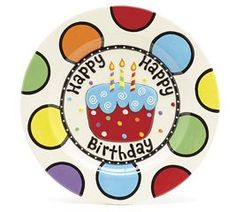Handwash only/FDA approved.brHand-painted ceramic Happy Birthday plate with slightly raised cupacke design in the center. brbr 1 H x 11 Diameter. Painted Ceramic Plates, Hand Painted Ceramics, Ceramic Painting, Painted Pottery, Painted Porcelain, Pottery Painting Designs, Pottery Designs, Pottery Ideas, Sharpie Crafts