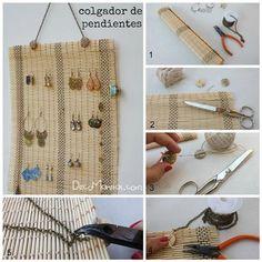 Organizador de pendientes DIY reciclando un mantel de bambú