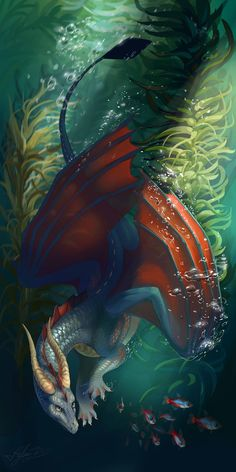 Dragon by Night-Owl- Magical Creatures, Fantasy Creatures, Dragon Oriental, Cool Dragons, Water Dragon, Sea Dragon, Dragon's Lair, Dragon Artwork, Dragon Pictures
