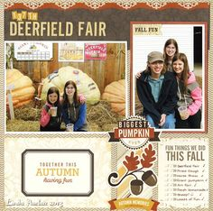 """Deerfield Fair* EP's """"Reflections:Fall"""" - Two Peas in a Bucket - layout by designer Linda Auclair Scrapbooking Layouts, Scrapbook Pages, Biggest Pumpkin, Silver Dollar City, Echo Park Paper, Photo Sketch, Show Horses, Art Fair, Cool Art"""