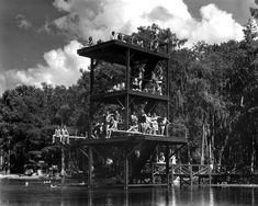 Three story diving tower over the spring - Wakulla Springs, Florida (circa 1940s)
