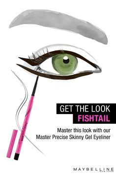 The Master Precise Skinny Gel pencil from Maybelline delivers an ultra-smooth line that lasts all day. Achieve mistake-proof application thanks to the 1.8mm micro-tip and smooth gel intensity. This is the right drugstore product for achieving a fishtail liner.