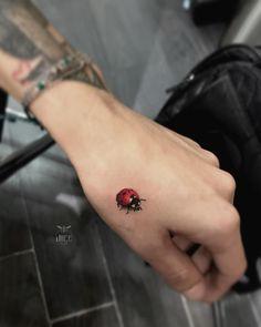 Tiny Bird Tattoos, Small Wrist Tattoos, Dream Tattoos, Finger Tattoos, Cute Tattoos, Beautiful Tattoos, Leg Tattoos, Tattoos For Guys, Ladybird Tattoo