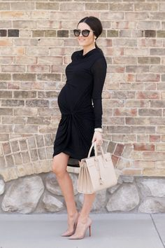 Gorgeous black dress with nude heels. #maternitystyle www.mothersboutique.com