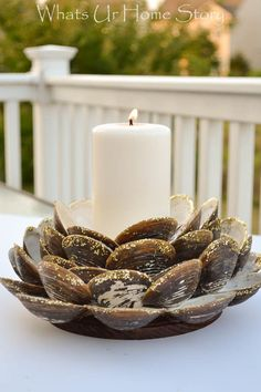 clam shell candle holder, Minwax wood finishing clothes project