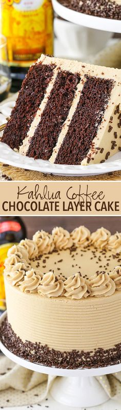 Kahlua Coffee Chocolate Layer Cake - moist soft chocolate cake with Kahlua coffee frosting! Kahlua Coffee Chocolate Layer Cake - moist soft chocolate cake with Kahlua coffee frosting! Layer Cake Recipes, Cupcake Recipes, Baking Recipes, Cupcake Cakes, Dessert Recipes, Drink Recipes, Recipes Dinner, Bon Dessert, Low Carb Dessert