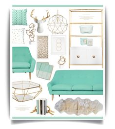 """Mint n' Gold"" by hmb213 ❤ liked on Polyvore featuring interior, interiors, interior design, home, home decor, interior decorating, Currey & Company, Eichholtz, Emporium Home and Worlds Away"