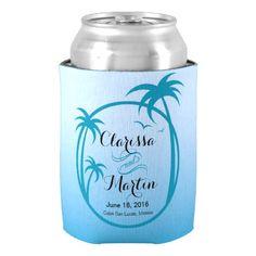 Palm Beach Tropical Logo | sky blue Can Cooler