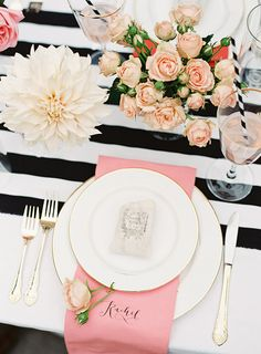 Blush pink, black and white tablescape. #wedding #place #setting #black #white