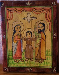 Reproduction of a century New Mexican Retablo by a anonymous painter New Mexican, Mexican Folk Art, Religious Images, Religious Art, Mexico Art, Mexico Style, Southwest Home Decor, Mexican Paintings, Faith Crafts