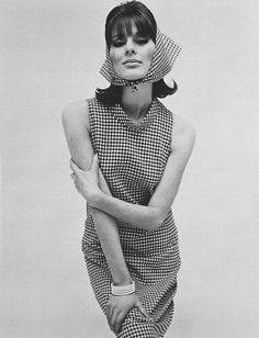 Paulene Stone in a Dog Tooth Shift and Headscarf