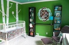 Green, blue, and brown nursery with tree details