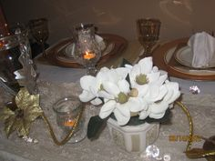 50th Wedding Anniversary Centerpieces Idea, but with Gardenias