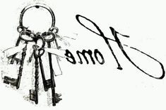 """""""Home"""" With Keys in reverse image . Foto Transfer, Transfer Paper, Diy Image, French Typography, Diy And Crafts, Paper Crafts, Graphics Fairy, Vintage Labels, Graphics Vintage"""