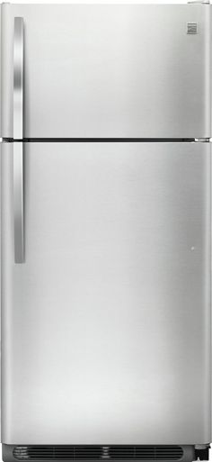 Kenmore 60505 18 cu ft Top-Freezer Refrigerator with Glass Shelves - Stainless Steel, Stainless steel Apartment Size Refrigerator, Kenmore Refrigerator, Top Freezer Refrigerator, Kitchen Tops, Kitchen Redo, Stainless Kitchen, Stainless Steel, Door Storage, Glass Shelves