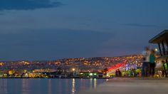 Thessaloniki promenade at night