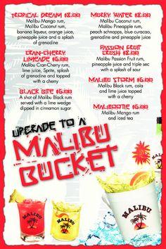 Malibu Rum buckets! 5 different flavors of Malibu rum with ...