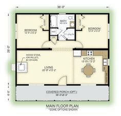 2 Bedroom House Plans Free Awesome Lovely 2 Bedroom Guest House Floor Plans New Home Plans Cottage Floor Plans, Cabin Floor Plans, Cottage Plan, Small House Plans, 2 Bedroom House Plans, Small Home Floor Plan, Two Bedroom Tiny House, Bedroom Small, Trendy Bedroom