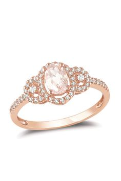 Blushing Bride: Rose Gold Jewels  10K Rose Gold Diamond & Morganite Oval Ring-If someone got this for me...I wouldn't cry