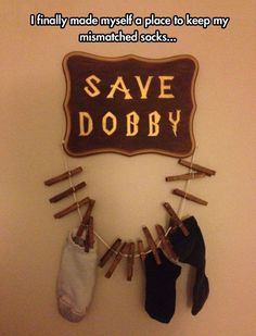A really cool way to store mismatched socks and to celebrate HP!