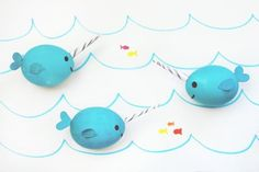 Easter eggs that look like the most magical real creature ever, a narwal! Also perfect for a nautical birthday party, just leave off the horn for little whales.   A Joyful Riot