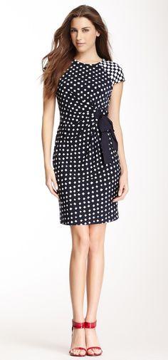 Contrast Cap Sleeve Printed Dress
