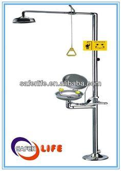 Eyewash is floor mounted & foot pedal operated Pipe