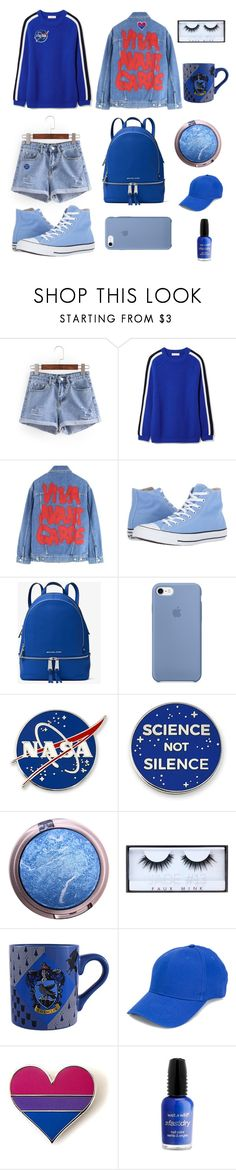 """""""Blue"""" by alaxaaleys ❤ liked on Polyvore featuring Tory Burch, Jeremy Scott, Converse, MICHAEL Michael Kors, Huda Beauty, F.A.M.T. and Wet n Wild"""