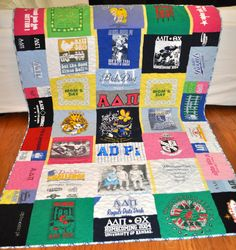 A personal favorite from my Etsy shop https://www.etsy.com/listing/467361793/sorority-t-shirt-quilt-custom-made