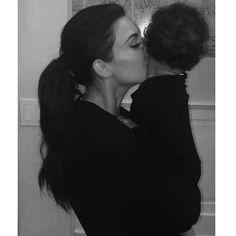 Kim and baby North