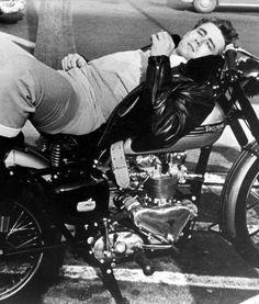 ❦ James Dean on his 1955 Triumph Trophy.