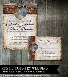 barn wedding invitation set rustic wedding invitation country chic invites wood wedding invitation printable with hearts rustic chic diy