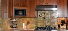 Custom tile and tile design in the Craftsman tradition. Craftsman Tile, Modern Craftsman, Craftsman Kitchen, Wood Kitchen Cabinets, Kitchen Backsplash, Kitchen Counters, Backsplash Ideas, Kitchen Island, Bungalow Decor