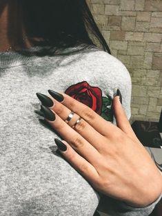 nails, black, and rose image