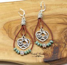 Seed Bead Earrings, Leather Earrings, Leather Jewelry, Leather Cord, Beaded Earrings, Earrings Handmade, Seed Beads, Brown Leather, Handmade Jewelry