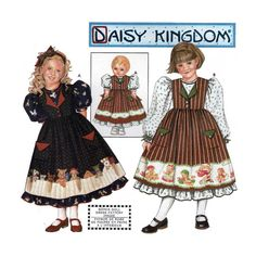 "Girl's Dress and Pinafore and Matching Doll Dress for 18"" Doll Sewing Pattern Child Size 3-4-5-6 Uncut Daisy Kingdom Simplicity 9434 by PitterPatternPlace"
